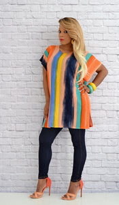 Women's Multi-Color Striped Poncho Kimono Top-Orange