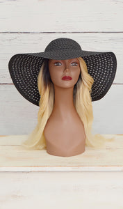 Women's Black Summer Straw Floppy Hat