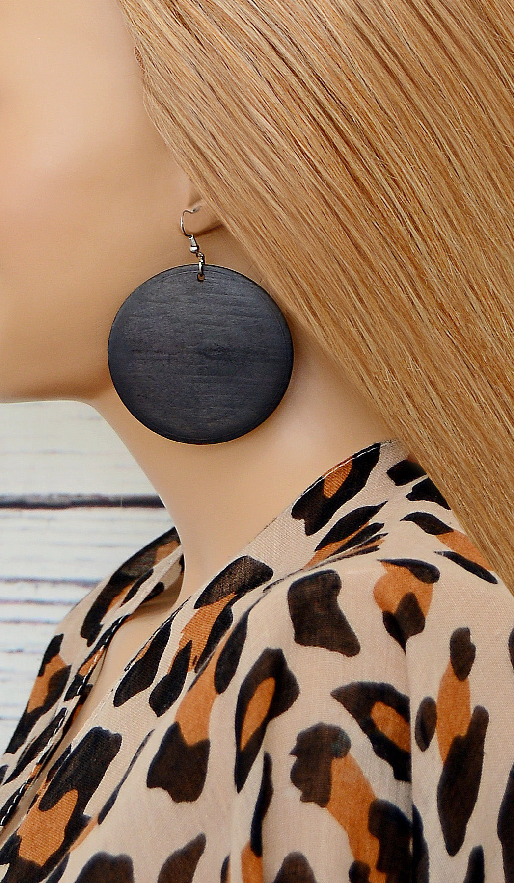 Women's Black Circle Wooden Fashion Earrings