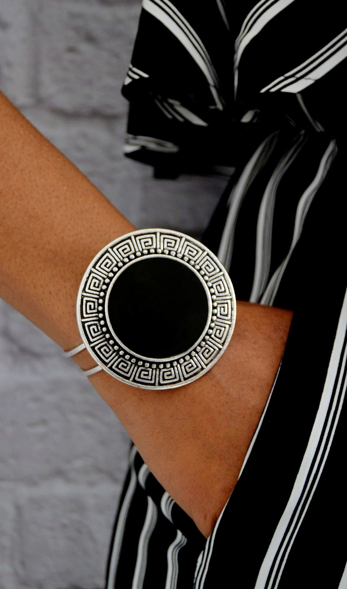 Fashion Silver/Black Cuff Bracelet - Jewelry Boutique