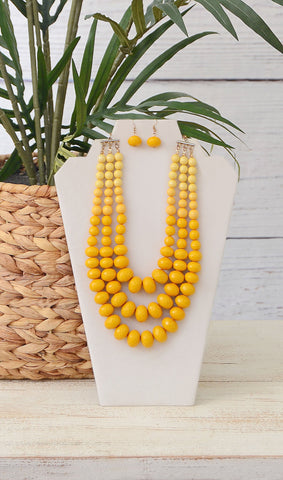 Mustard Yellow Triple Layer Beaded Necklace