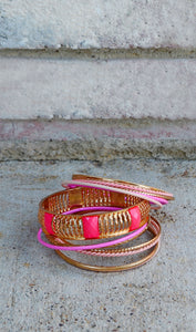 Gold/Pink Stackable Bracelet Set