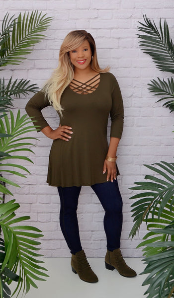 Women's Olive Green Cage Criss Cross Tunic