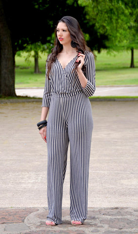 Junior 3/4 Sleeve Striped Wide Leg Jumpsuit - Beige/Black