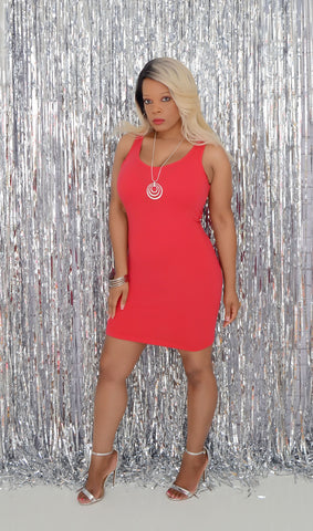 Women's Basic Red Bodycon Dress