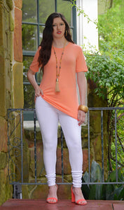 Women's Junior Fit Basic T Shirt - Boutique Coral Orange