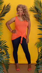 Women's Orange Sleeveless Flowy Tunic Top