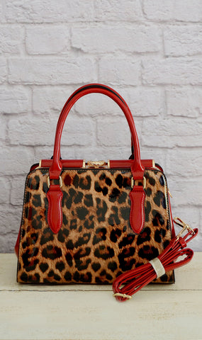 Women's Red Leopard Fashion Handbag/Purse