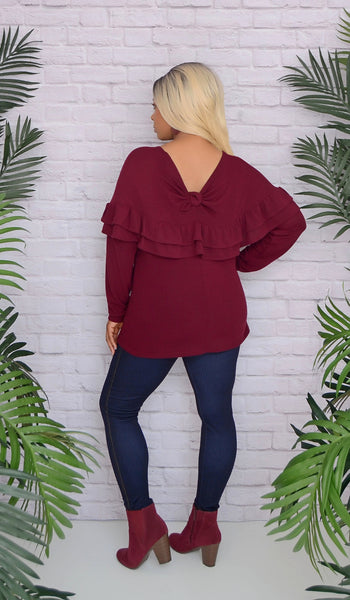 Women's Maroon Ruffle Knit Tunic Top Sweater