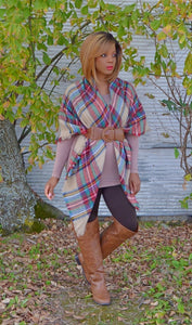 Trendy Oversized Plaid Blanket Scarf- Cheap Junior Clothes