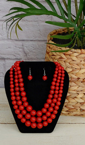 Women's Red Three Layer Beaded Necklace