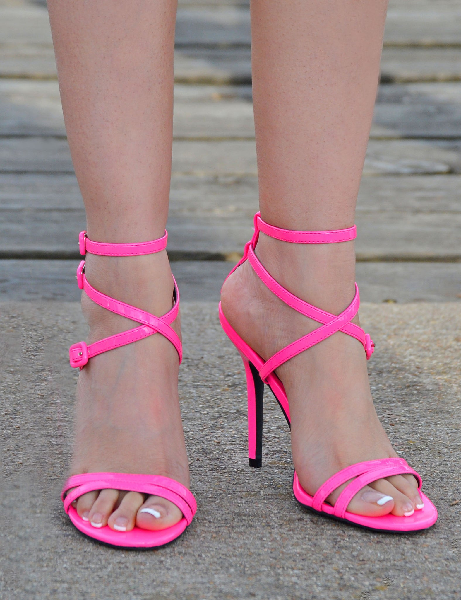 Women's Open Toe Sexy Stiletto High Heels - Neon Pink