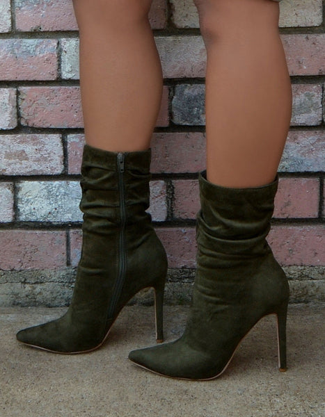 Women's Suede Olive Green Ankle Booties