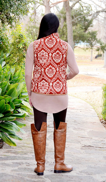 Junior Boutique Damask Puffer Vest-Rust Brown/Beige
