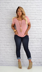 Boutique Tops) Women's Junior Basic T Shirt - Rose Pink