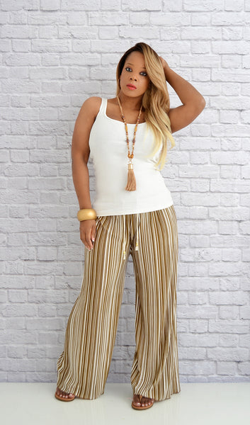 Women's Wide Leg Striped Palazzo Pants-Affordable Boutique