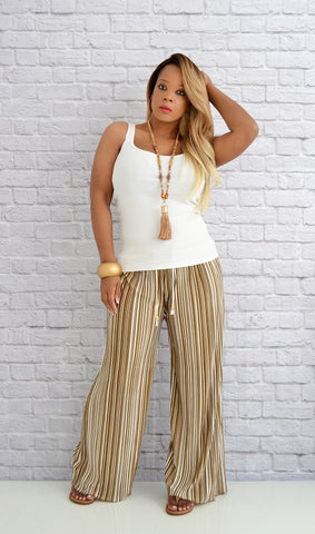 Women's Beige/White Striped Wide Leg Palazzo Pants