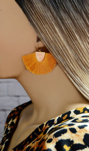 Mustard Yellow Fringe Tassel Earrings