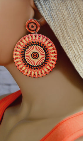 Women's Orange Retro Circle Earrings