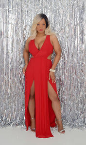 Women's Red Club/Cocktail Dress With Side Slit