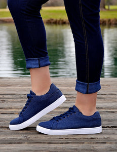 Women's Navy Blue/White Denim Sneakers