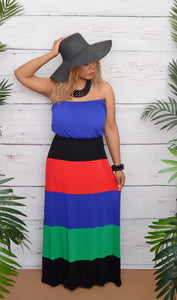 Color Block Strapless Tube Maxi Dress-Blue