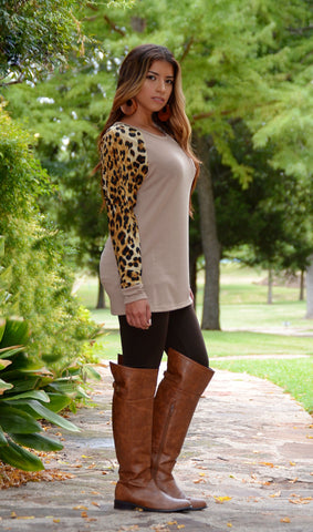 Juniors Sweater Top With Leopard Sleeves - Beige - Boutique Tops