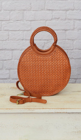 Women's Cognac Brown Round Cross Body Purse