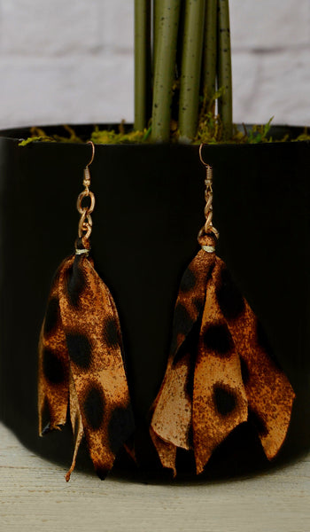 Women's Leopard Tassel Earrings - Accessories Boutique