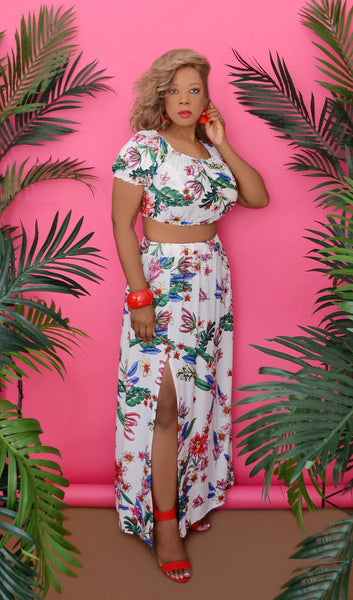 Women's White Tropical Floral Two Piece Skirt Set