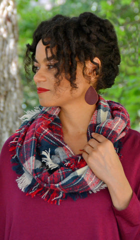Women's Blue/Multi-Color Plaid Infinity Blanket Scarf
