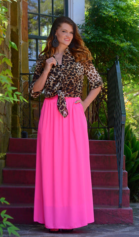 Junior Fuschia/Fuchsia High Waist Maxi Skirt With Pockets-Pink