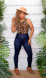 Women's Sleeveless Leopard Bodysuit Top