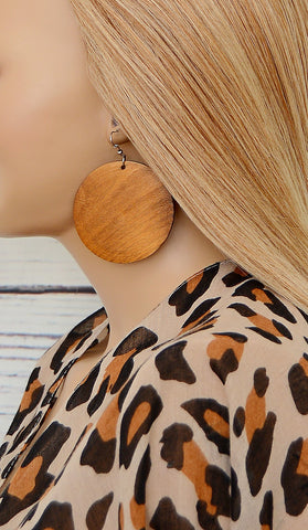Medium Chestnut Brown Wooden Circle Earrings