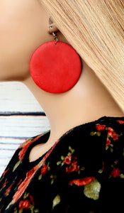 Women's Red Wooden Circle Fashion Earrings