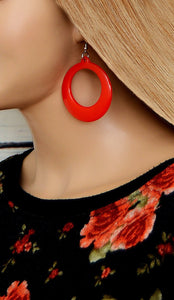 Women's Red Cutout Hoop Earrings