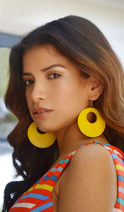 Women's Yellow Wooden Hoop Earrings- Cute Cheap Earrings