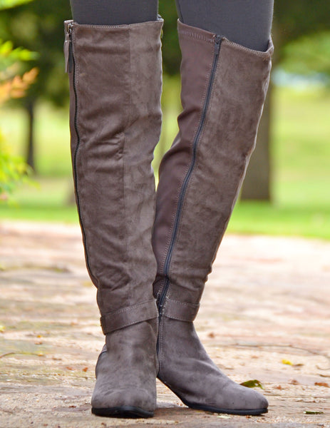 Women's Sexy Suede Over The Knee Boots-Gray-Sexy Boots