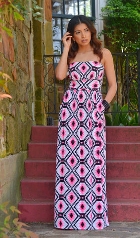 Women's Multi-Color Aztec Pocket Maxi Dress-Pink