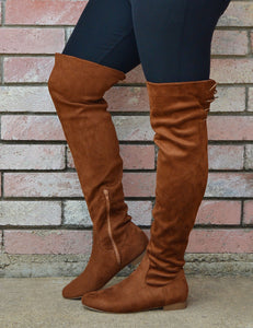 Women's Suede Knee High Boots With Back Lace Up-Chocolate Brown