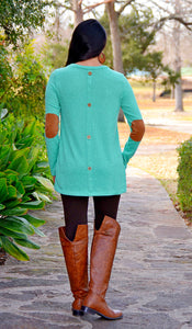Junior Boutique Button Back Sweater With Elbow Patches-Mint Green