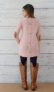 Juniors Button Back Sweater With Elbow Patches-Rose Pink