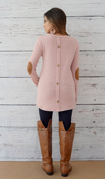 Juniors Button Back Sweater With Elbow Patches - Rose Pink