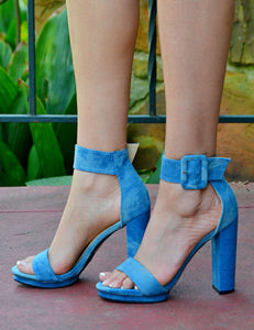 Women's Sexy Light Denim Open Toe Chunky Heels - Blue