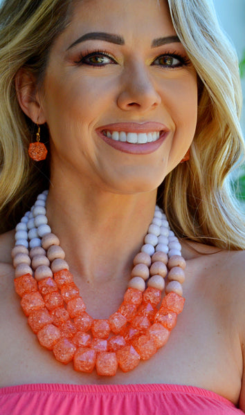 Cluster Of Cuteness Necklace Set-Coral