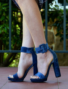 Women's Dark Denim Open Toe Chunky Heel Pumps-Blue