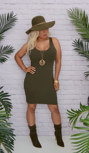 Women's Olive Green Bodycon Dress