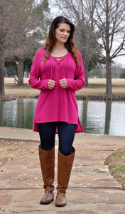 Juniors Lace Up Tunic Top Sweater - Magenta - Boutique Tops