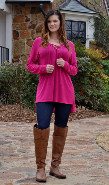 Junior Basic Magenta Lace Up Tunic Top-Cheap Junior Clothes