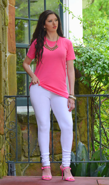 Women's Junior Fit Basic Tee Shirt - Hot Pink/Fuschia